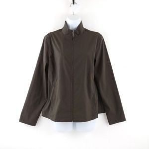 Chico's Additions Taupe Gray/Brown Zip Up Jacket